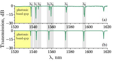 Mikro žiedinio rezonatoriaus, patalpinti į metanolį, pralaidumo spektrai. (a) - eksperimentas, (b) - teorinis modeliavimas.